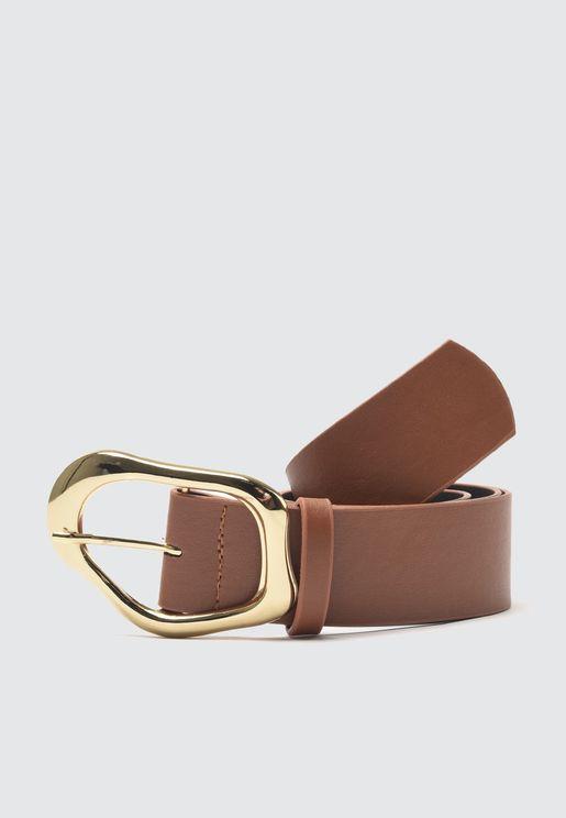 Metal Buckled Leather  Belt