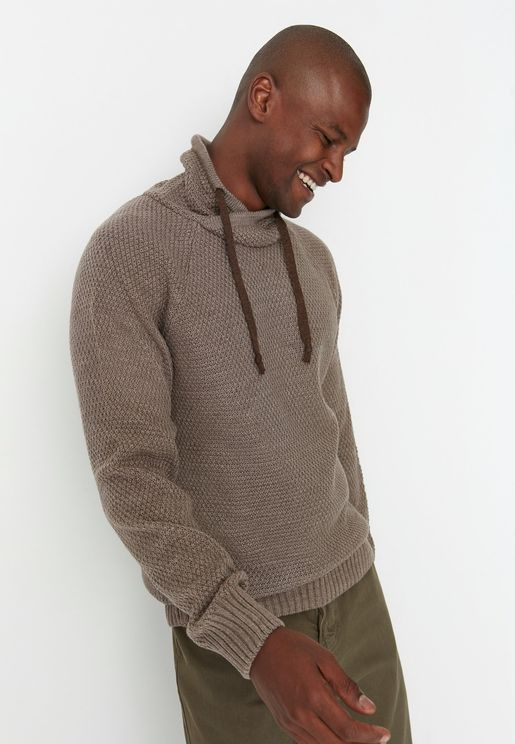 Shawl Neck Hooded Sweater