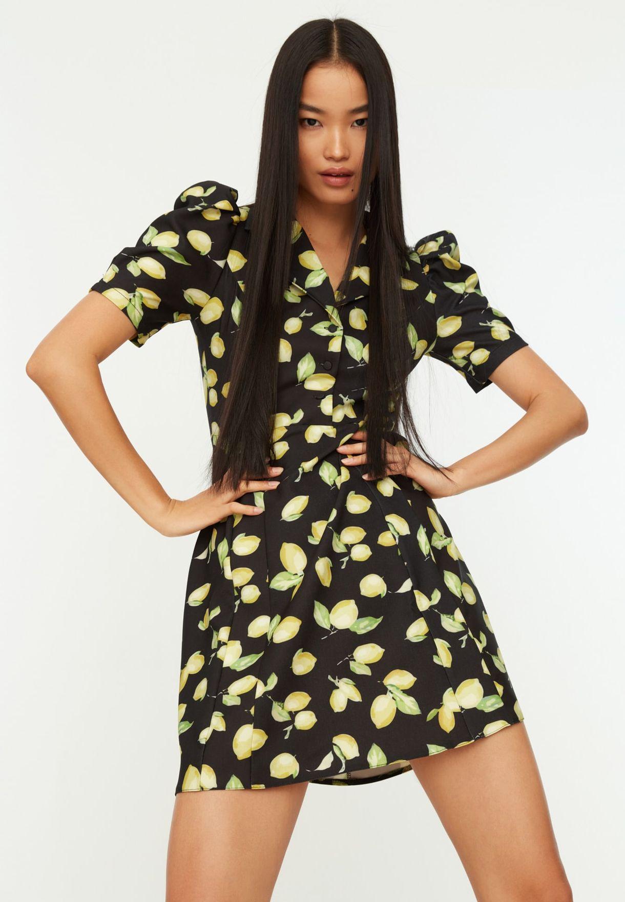 Mango Print Puff Sleeve Dress