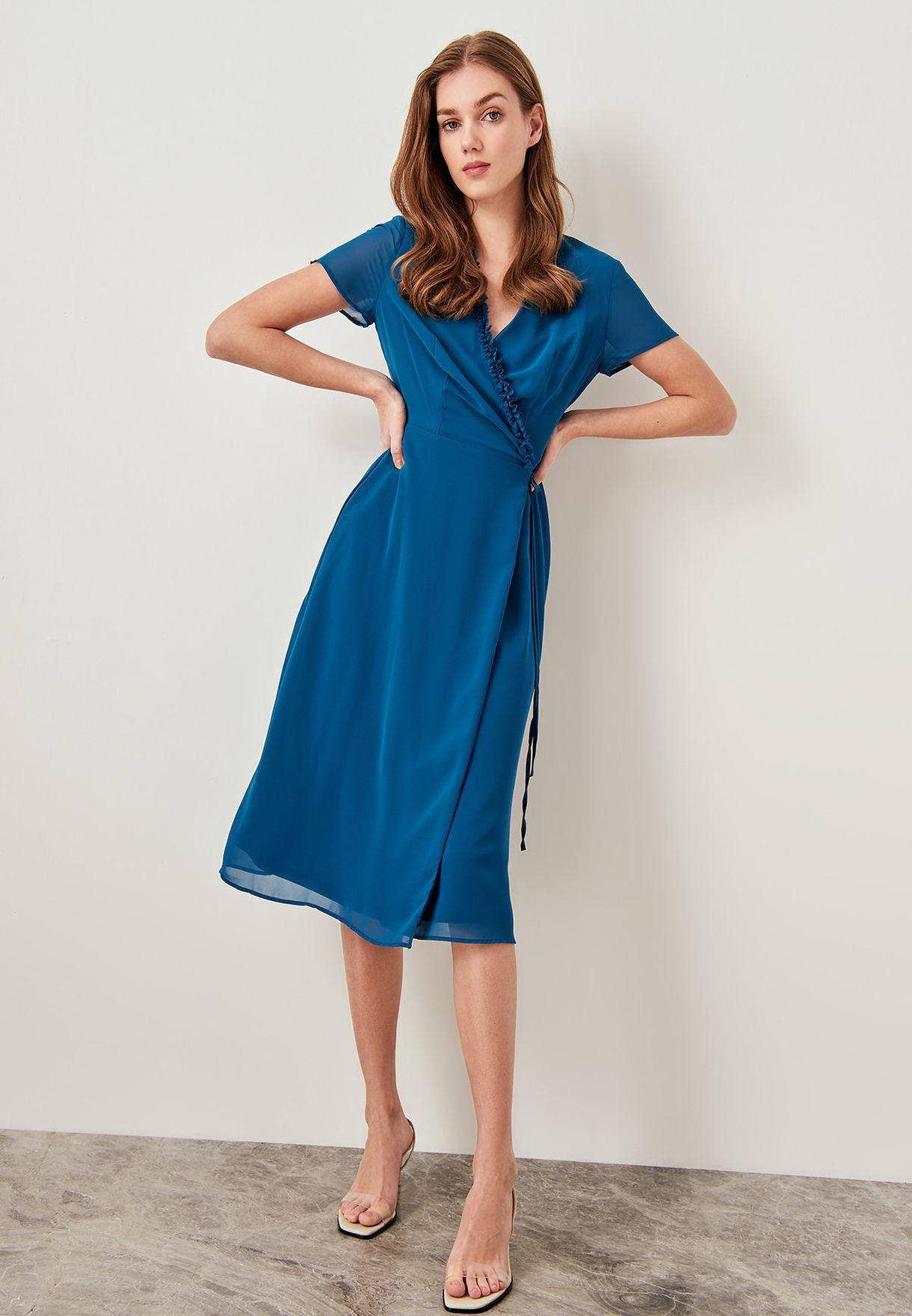 Side Tie Ruffle Trim Dress