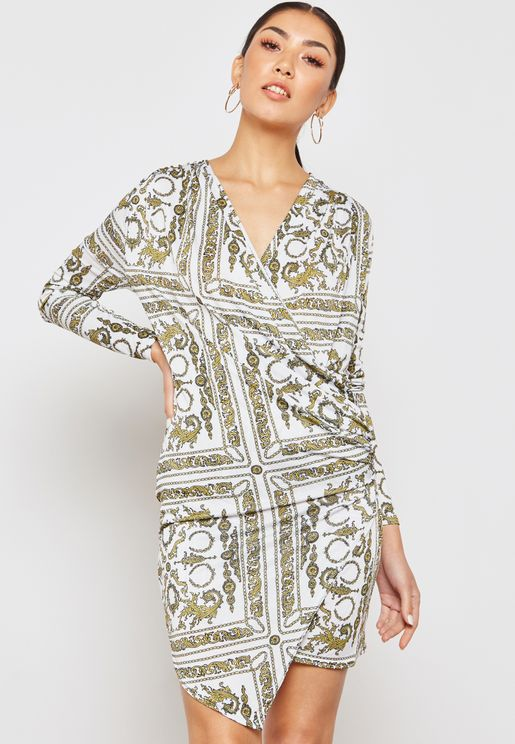 Baroque Print Wrap Front Drape Dress