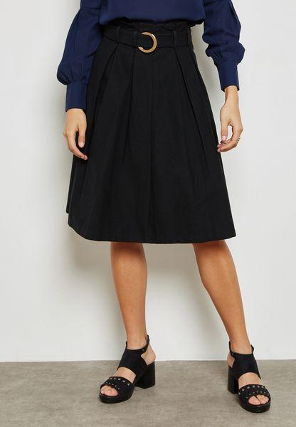 Ring Belted Skater Skirt