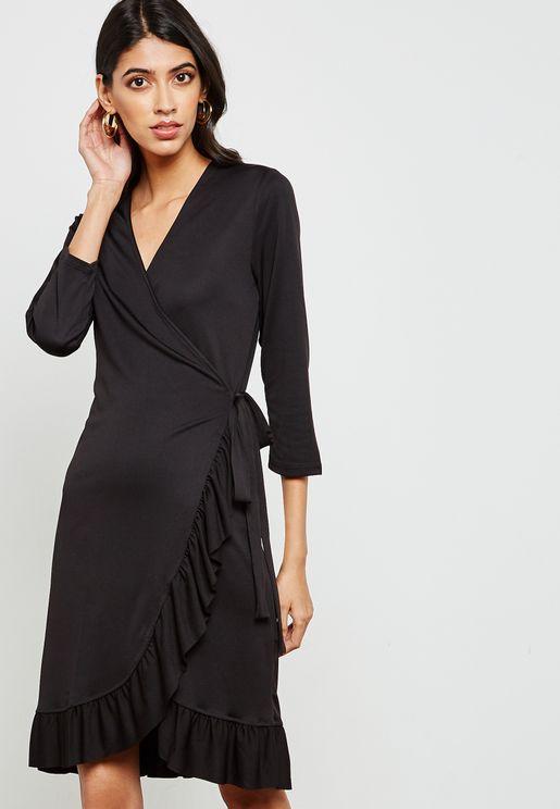 Wrap Ruffle Dress