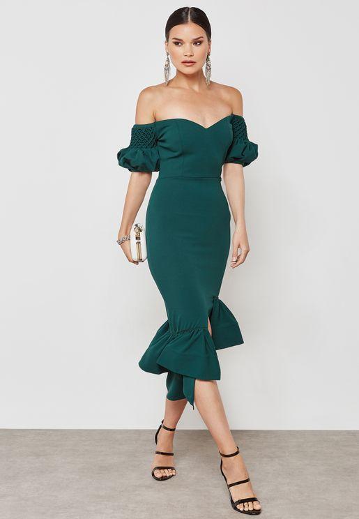 Smocking Sleeve Hem Dress