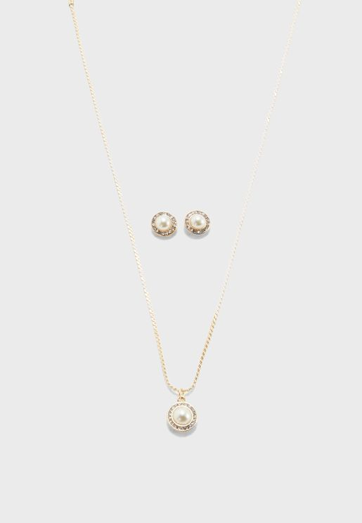 Faux Pearl Halo Necklace & Earring Set