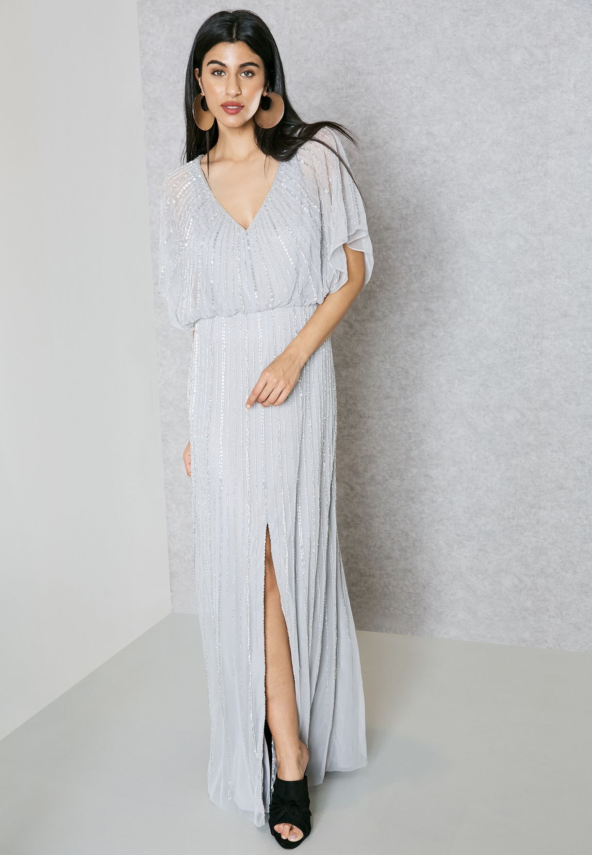 promo code 4f3f4 24878 Shop Mango grey Beaded Frill Sleeve Dress 83029011 for Women in UAE on sale