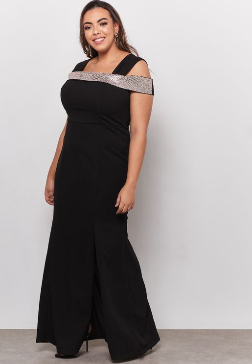 Cold Shoulder Side Split Maxi Dress