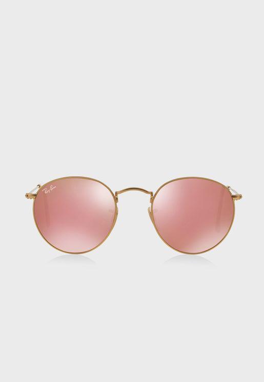 0RB3447 Round Flash Sunglasses