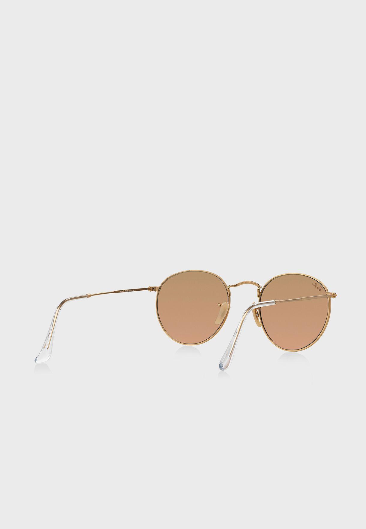نظارة شمسية مستديرة بعدسات عاكسة