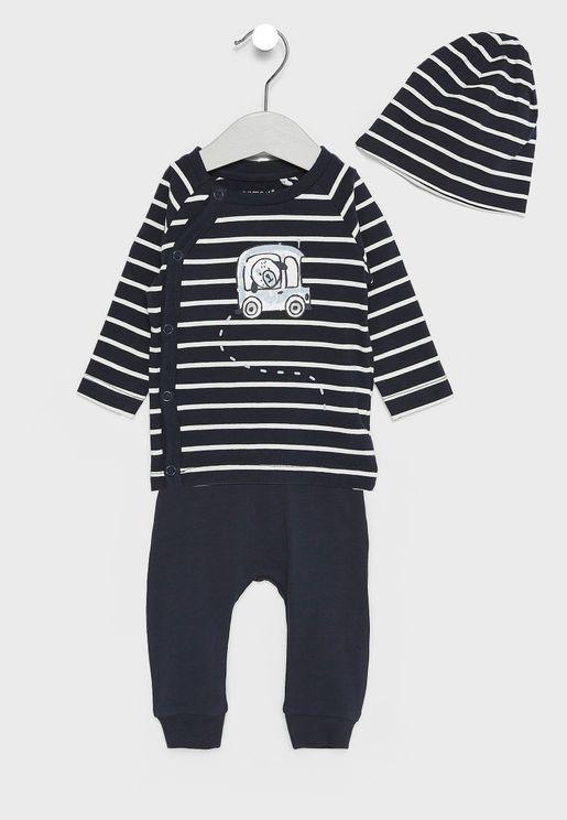Infant Top + Sweatpants + Hat Set