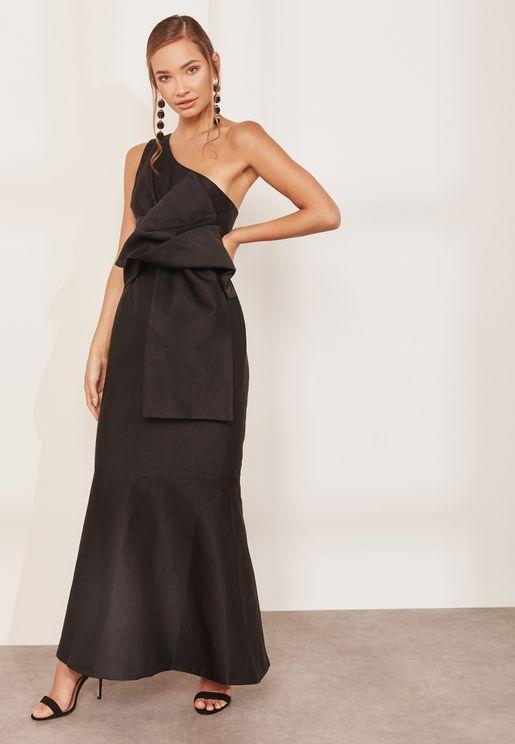 Retrogade Bardot Pleated Maxi Dress