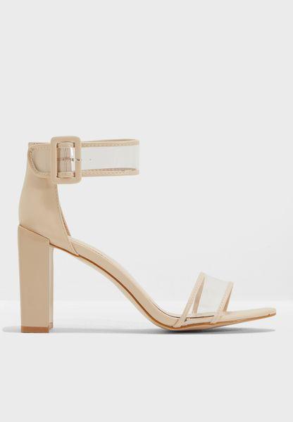 Cannes Perspex Straps Detail Heel