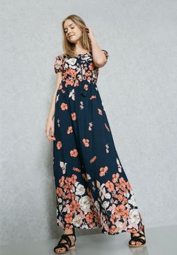 Floral Print Tie Bardot Maxi Dress