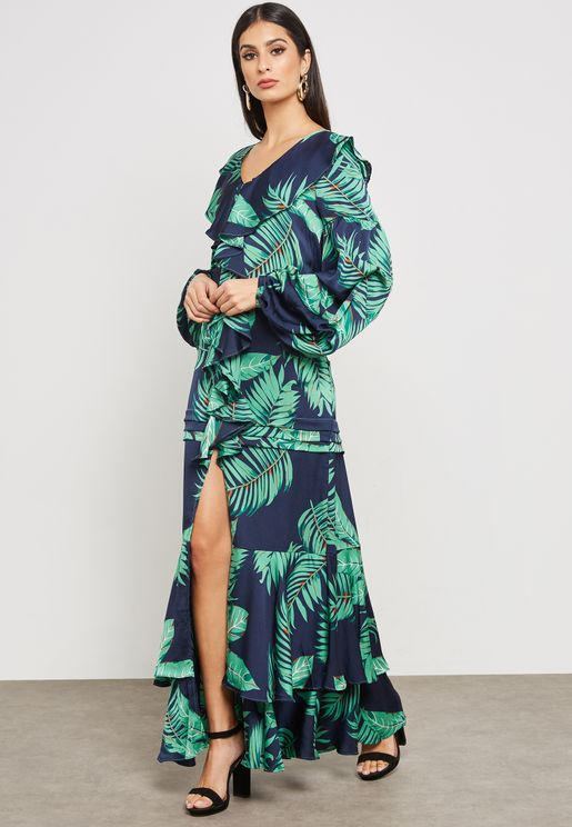 Ruffle Slit Maxi Dress