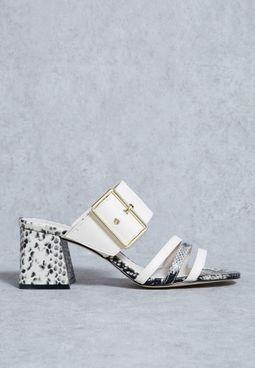 Buckle Mule Block Heel Sandals