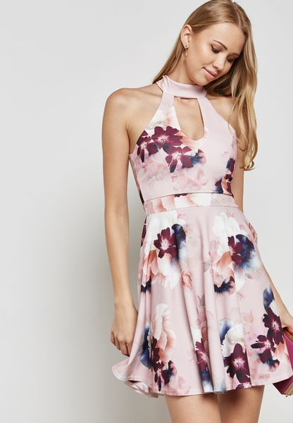 Floral Choker Neck Skater Dress