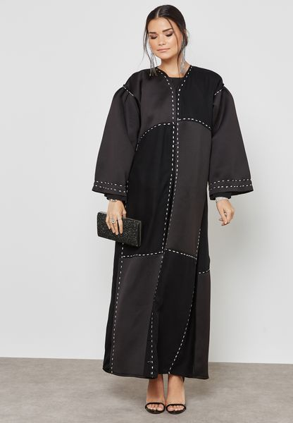 Contrast Stitches Embroidered Abaya