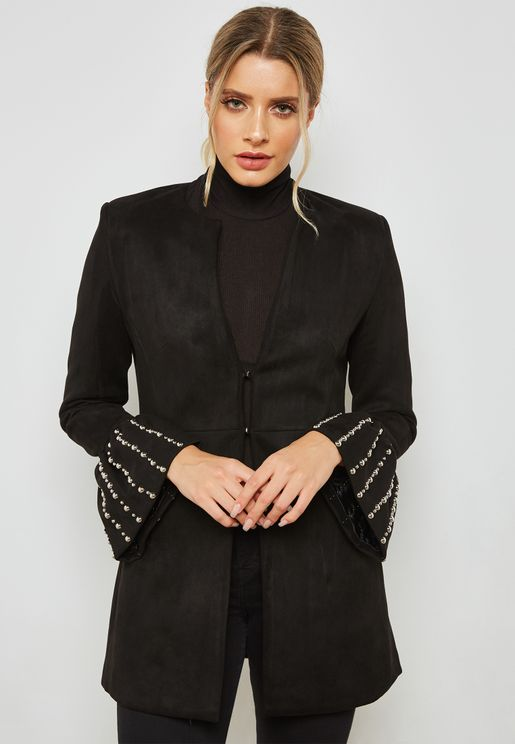 Suedette Pearl Flute Sleeve Jacket