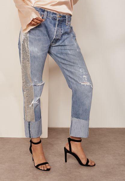 Sequin Detail Reworked Vintage Jeans