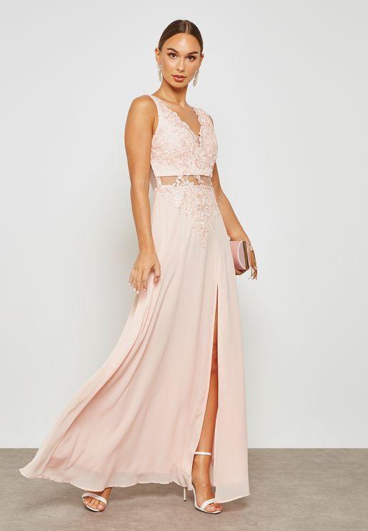 Embellished Front Split Dress