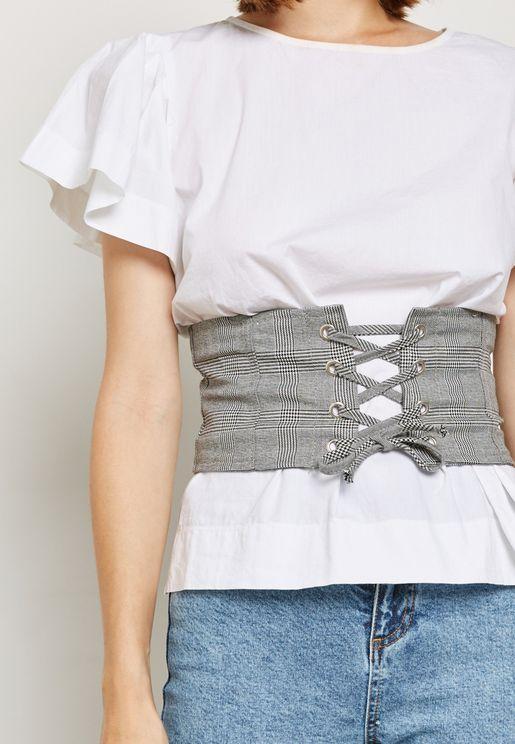 Black Check Corset Belt