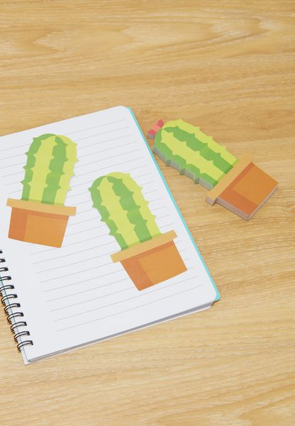 Cactus Shaped Sticky Notes