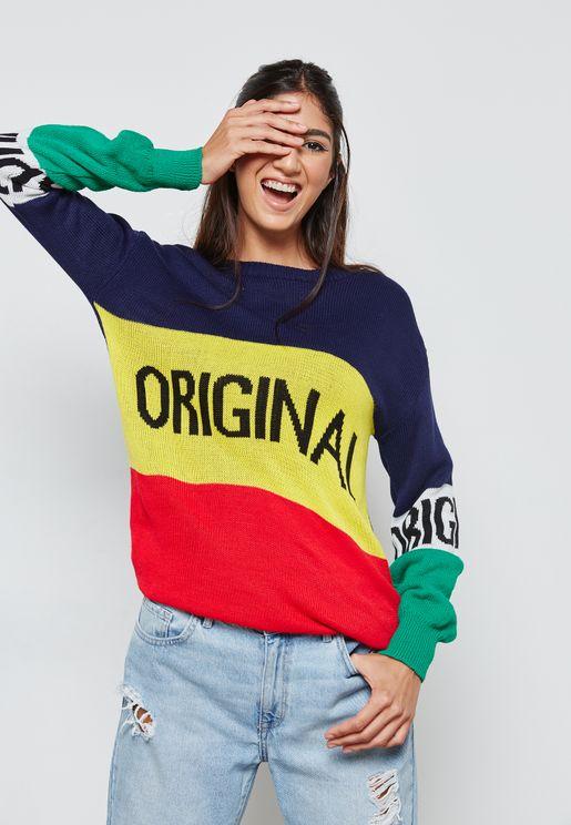 Color Block Slogan Sweater
