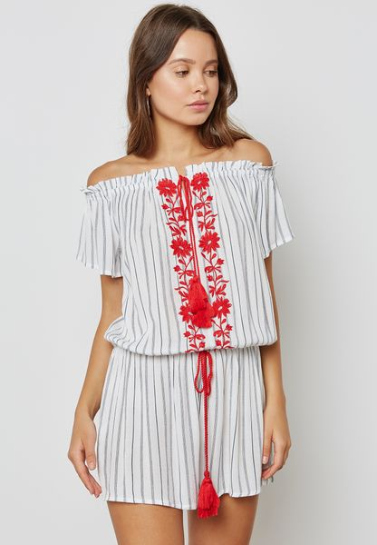 Striped Embroidered Playsuit