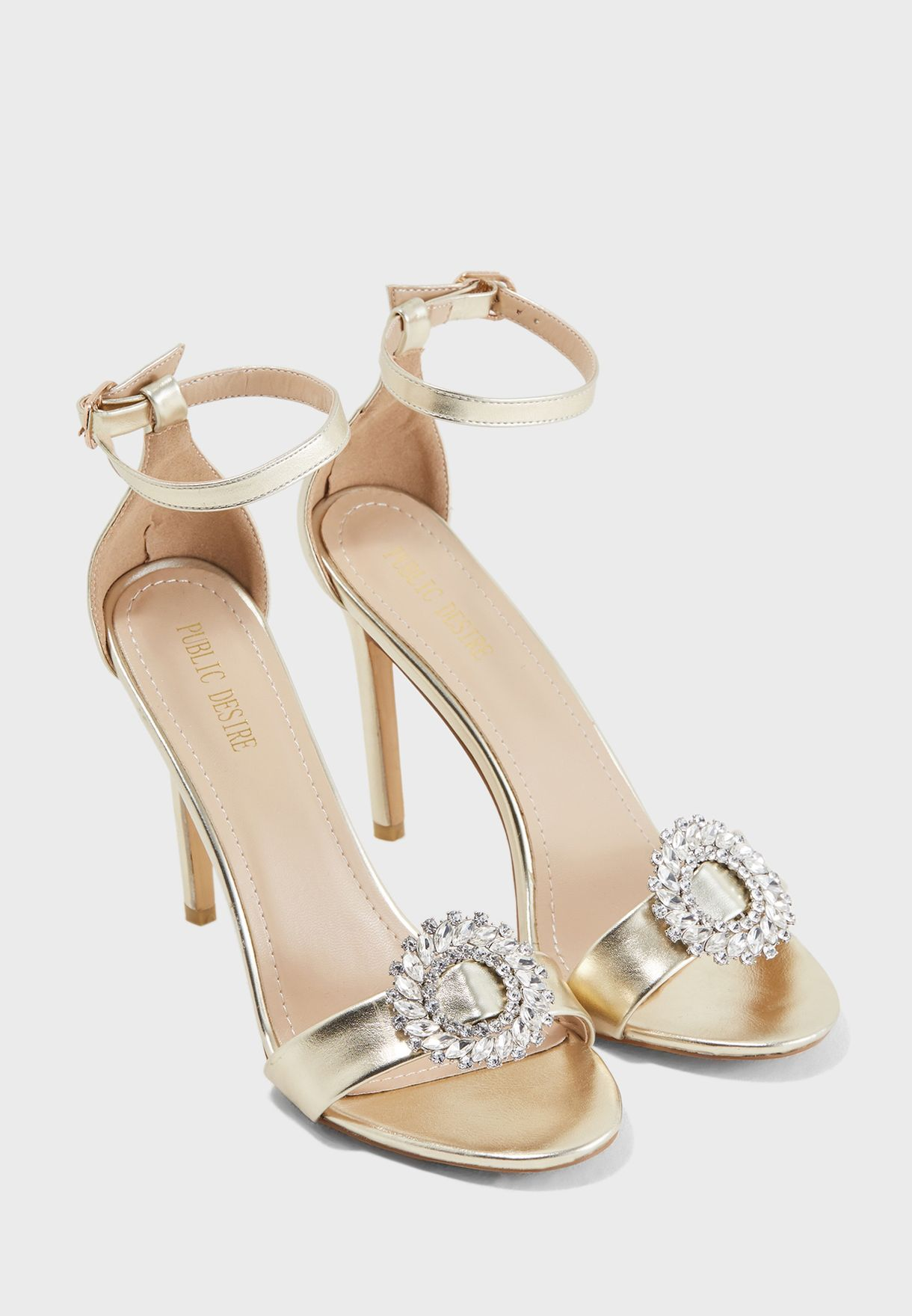 bfd01fa6509f Shop Public Desire gold Halle Silver Brooch Barely There Heel HALLE ...