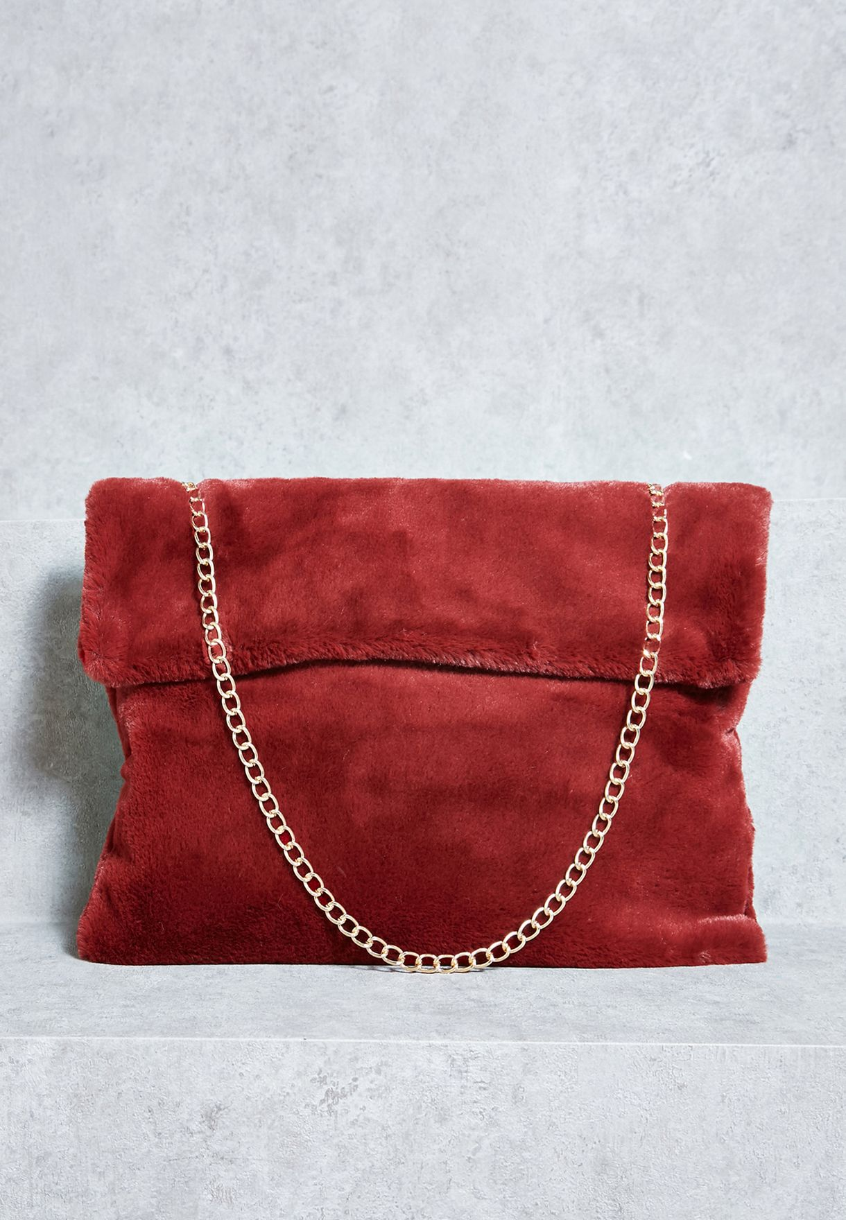 4131a3d46de9 Shop Ginger red Faux Fur Clutch 901 Vector for Women in Bahrain -  GI121AC91LEE