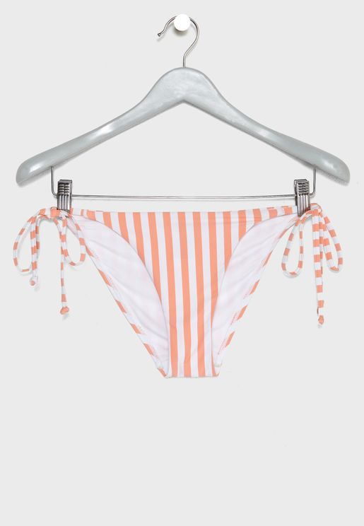 Striped Side Tie Bikini Bottom