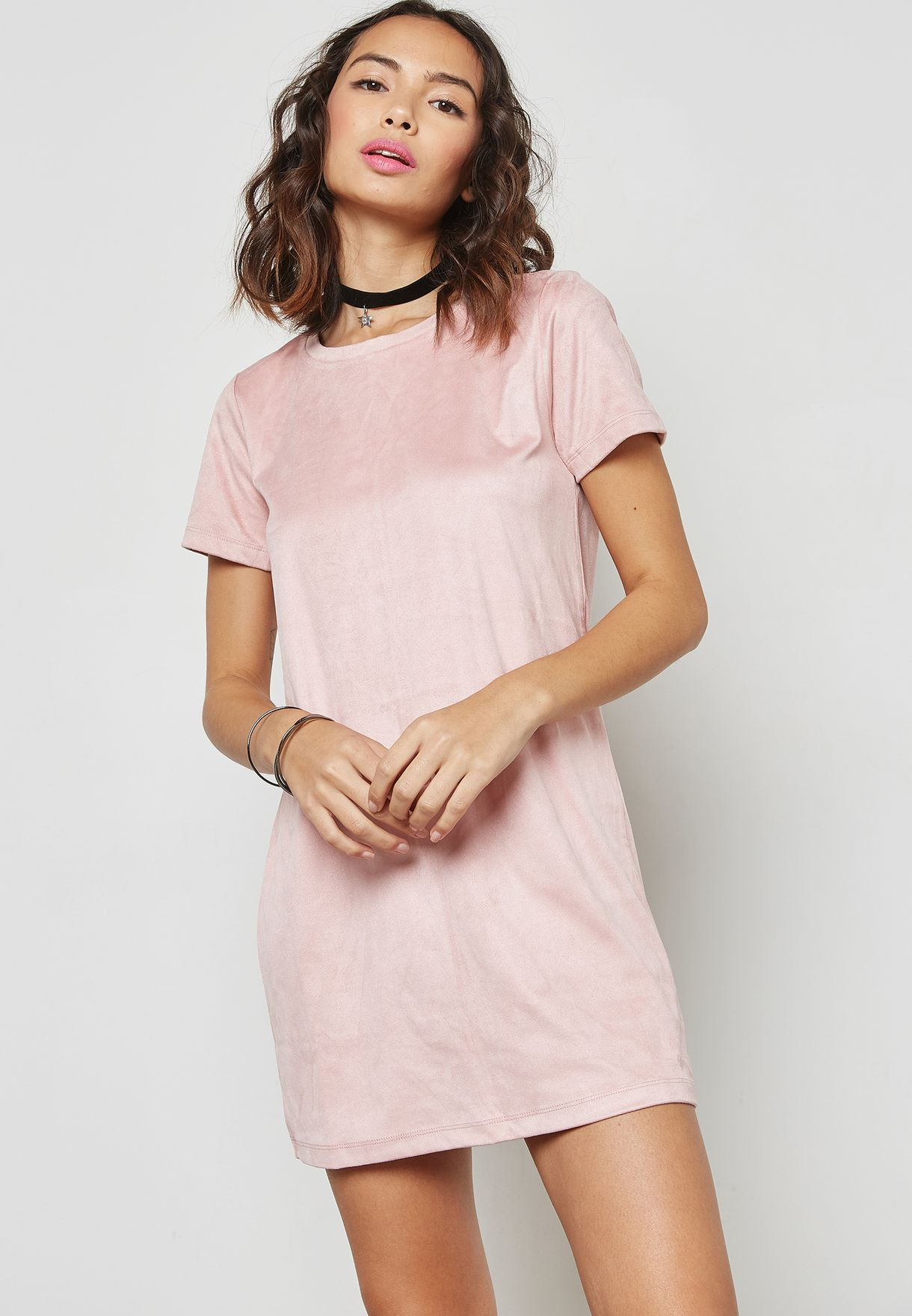 Shop Forever 21 pink Velvet T-Shirt Dress 113111 for Women ...