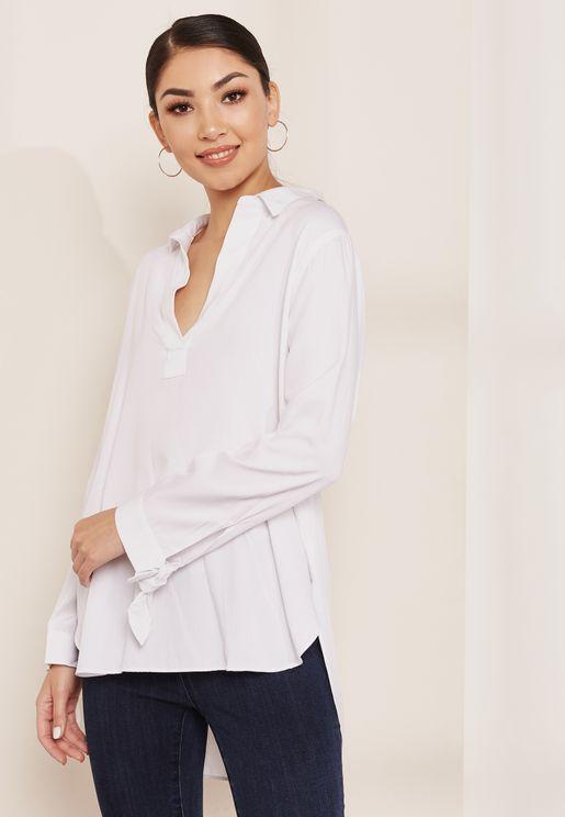 قميص بأكمام طويلة بأربطة