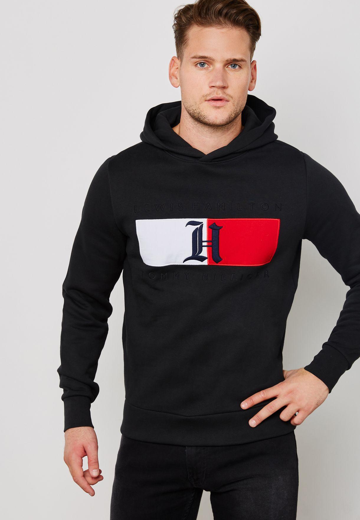 6a7e53a1 Shop Tommy Hilfiger black Lewis Hamilton Flag Logo Hoody ...