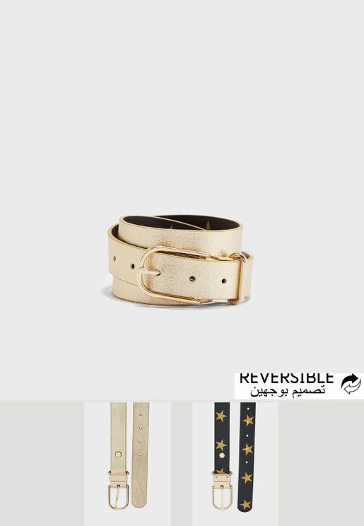 حزام من جلد اصلي يمكن ارتداؤه على الوجهين