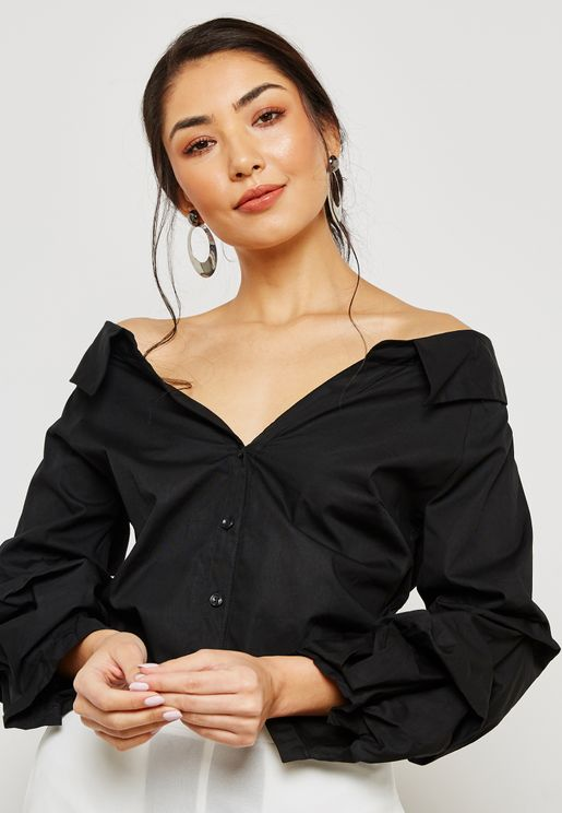 Puffed Sleeve Off Shoulder Shirt
