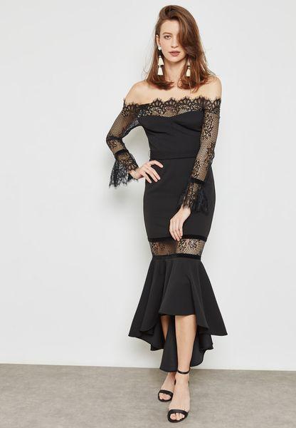 Lace Insert Ruffle Bardot Dress