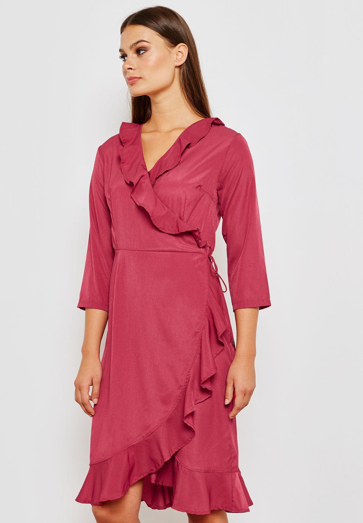 Wrap Front Ruffle Trim Midi Dress
