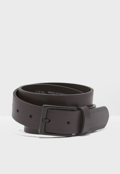 Faux Leather Belt With Brown Coated Buckle