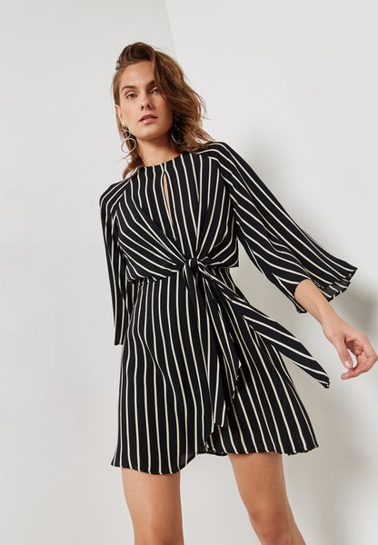 Keyhole Striped Dress