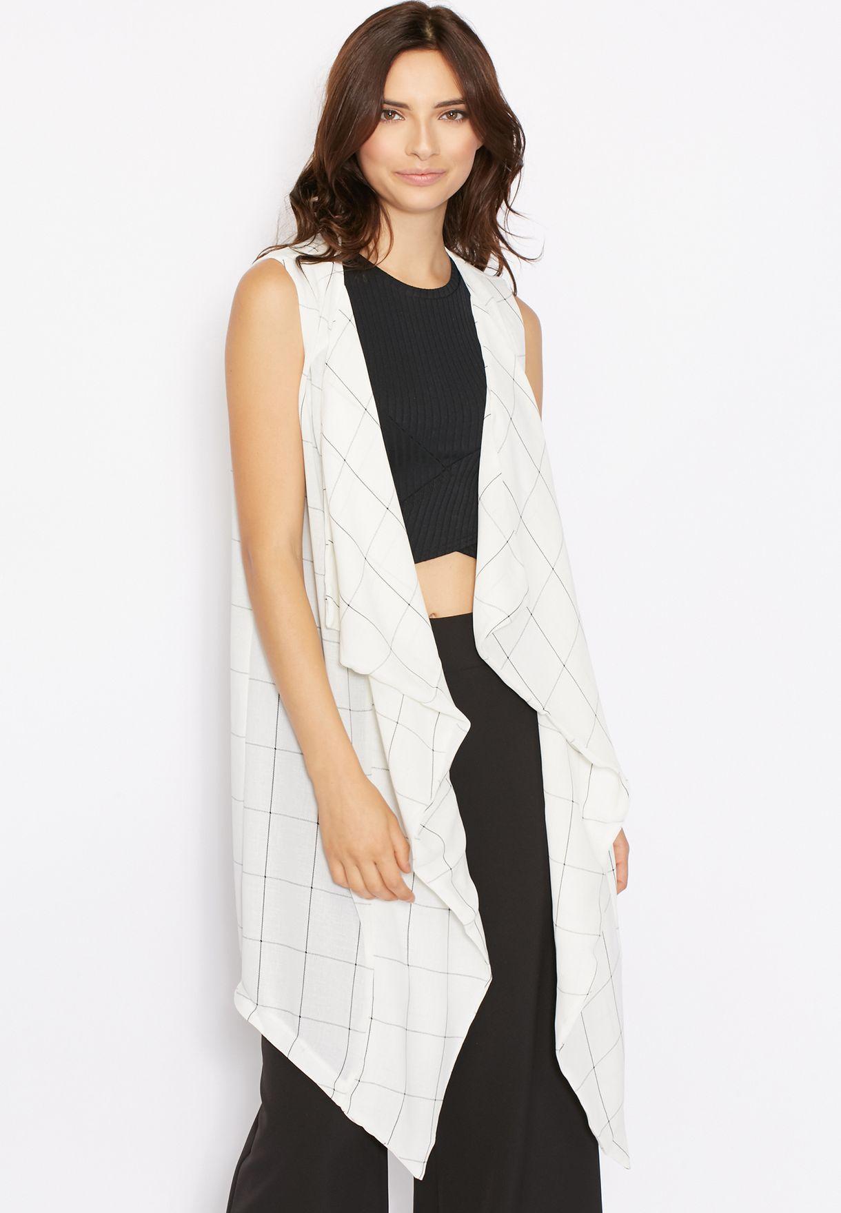 5a30e7098 Shop Glamorous white Sleeveless Longline Checked Jacket for Women in ...