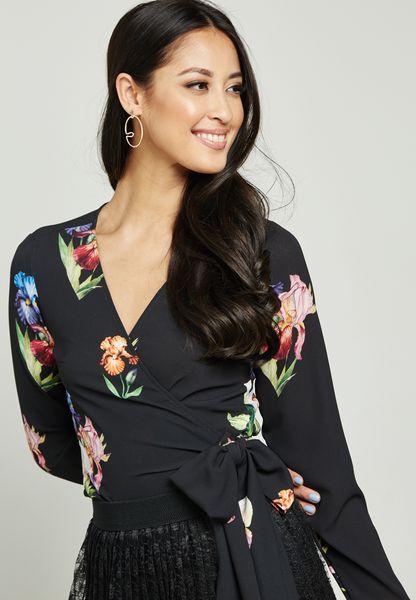 Floral Print Wrap Front Self Tie Top
