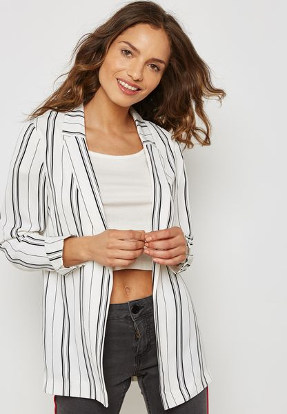 Striped Long Line Blazer