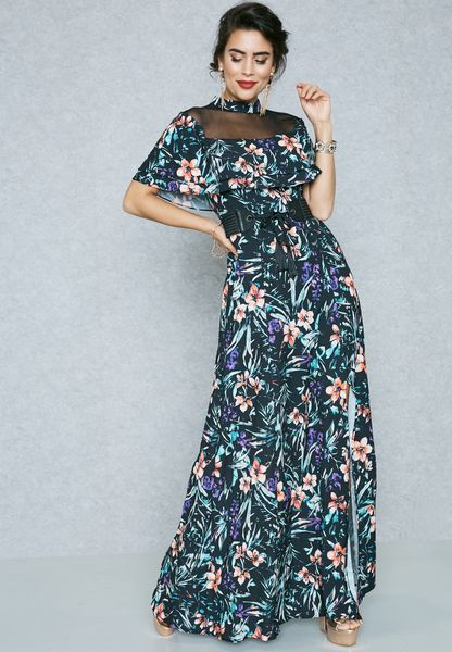 Floral Print Ruffle Detail Slit Dress