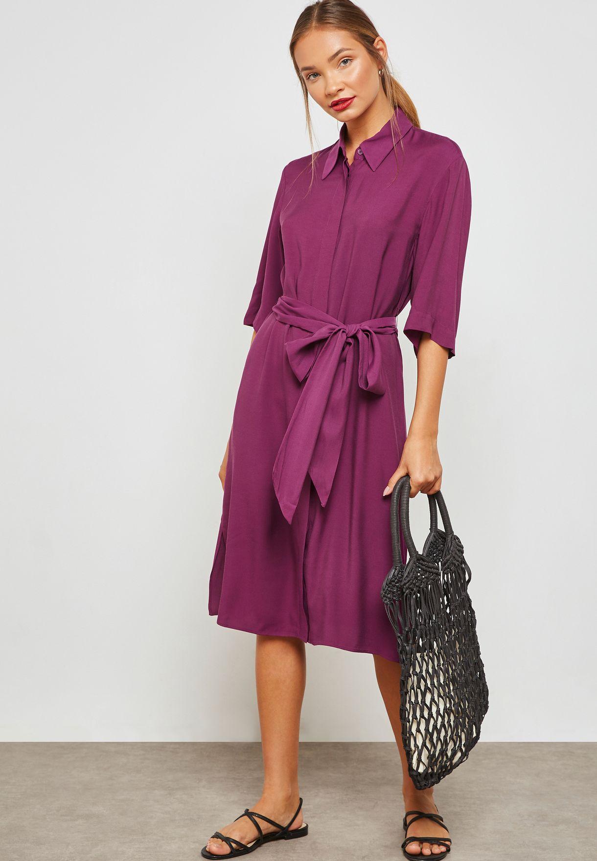 a9963bd66c34f Shop Mango purple Tie Waist Shirt Dress 31080986 for Women in UAE ...