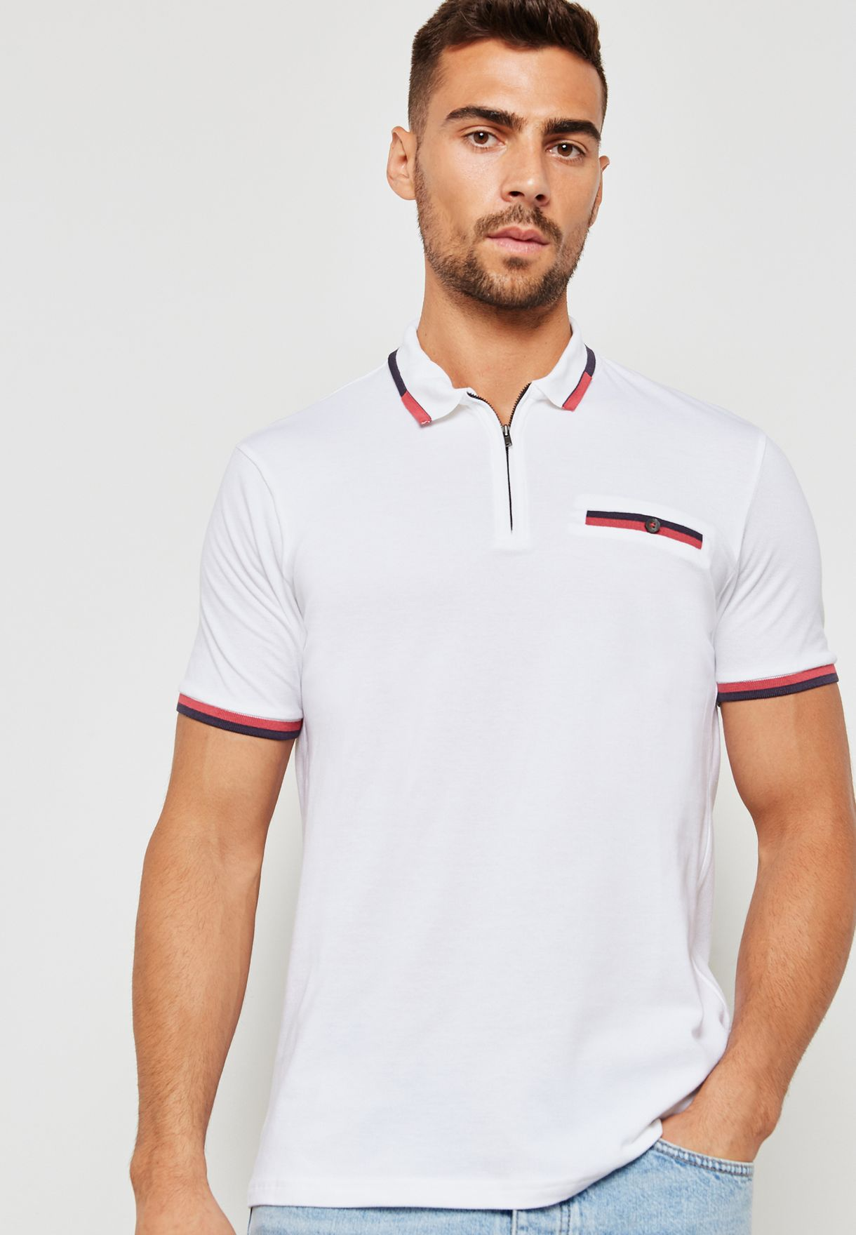 2c8c70a8 Shop Burton white Contrast Collar Polo 45Z00NWHT for Men in UAE ...