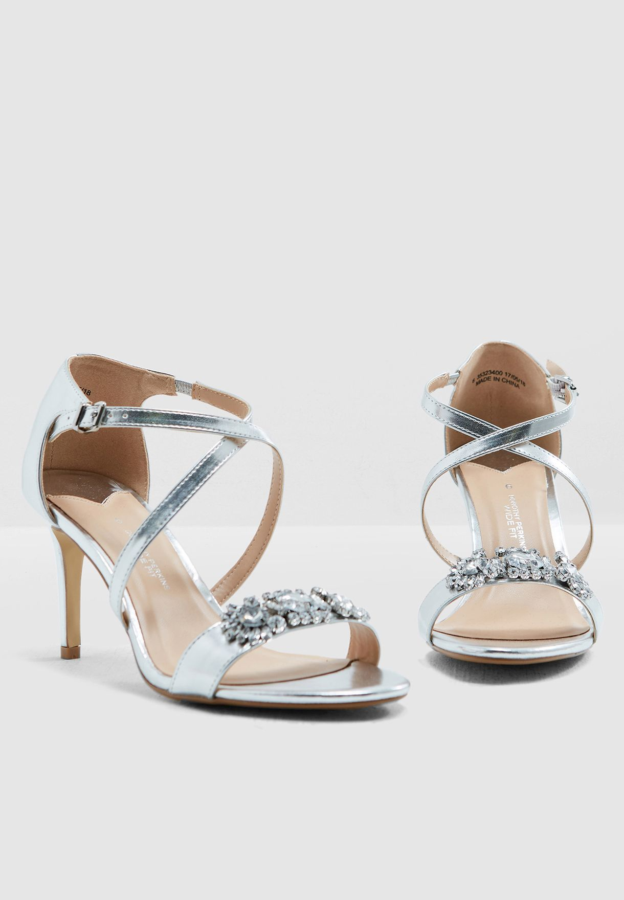 04e71d6e07ebb Shop Dorothy Perkins silver Wide Fit Exclusive PU Blissful Heeled ...