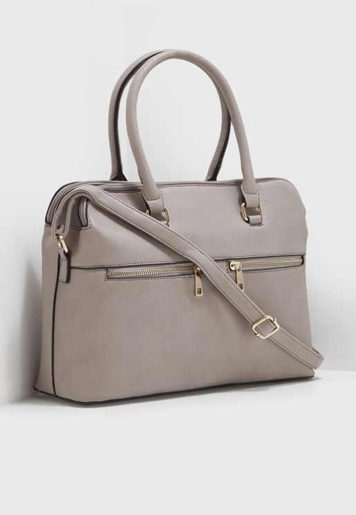 Double Zip Satchel Handbag