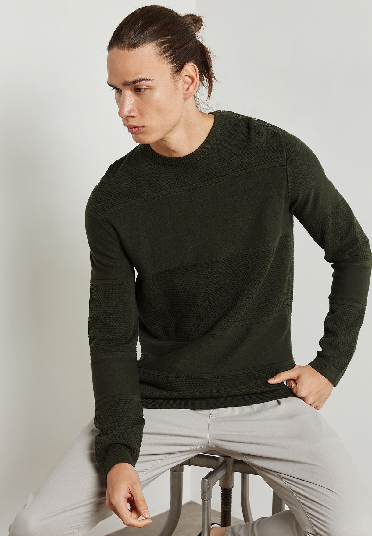 Shop Jack Jones green Rouge Knitted Sweater 12124642 for Men in Kuwait -  JA333AT81RJY 4165f83f861