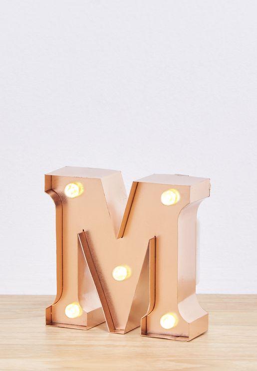 Initial M Rose Gold Mini Light